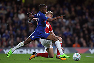 Charly Musonda of Chelsea (L) in action with Joe Worrall of Nottingham Forest (R). Carabao Cup 3rd round match, Chelsea v Nottingham Forest at Stamford Bridge in London on Wednesday 20th September 2017.<br /> pic by Steffan Bowen, Andrew Orchard sports photography.
