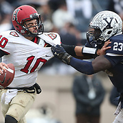 NEW HAVEN, CONNECTICUT - NOVEMBER 18: Quarterback Wesley Ogsbury #10 of Harvard is sacked by Foyesade Oluokun #23 of Yale during the Yale V Harvard, Ivy League Football match at the Yale Bowl. Yale won the game 24-3 to win their first outright league title since 1980. The game was the 134th meeting between Harvard and Yale, a historic rivalry that dates back to 1875. New Haven, Connecticut. 18th November 2017. (Photo by Tim Clayton/Corbis via Getty Images)