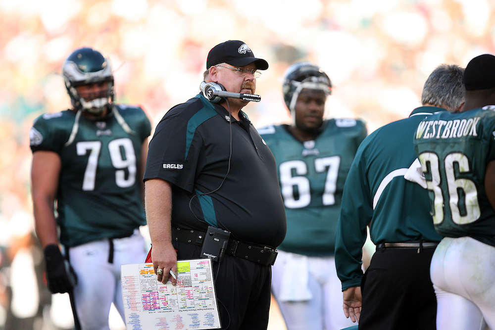 PHILADELPHIA - OCTOBER 26: Head coach Andy Reid of the Philadelphia Eagles coaches on the sideline during a game against the Atlanta Falcons on October 26, 2008 at Lincoln Financial Field in Philadelphia, Pennsylvania. The Eagles won 27-14.  (Photo by Hunter Martin/Getty Images) *** Local Caption *** Andy Reid