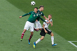 June 17, 2018 - Moscow, Russia - Hugo Ayala and Carlos Salcedo of Mexico vie Thomas Mueller of Germany during the Russia 2018 World Cup Group F football match between Germany and Mexico at the Luzhniki Stadium in Moscow on June 17, 2018. (Credit Image: © Foto Olimpik/NurPhoto via ZUMA Press)