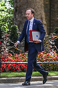 Secretary of State for Health and Social Care Matt Hancock arrives at 10 Downing Street in London, ahead of the weekly session of PMQs, Wednesday, July 1, 2020. (Photo/Vudi Xhymshiti)