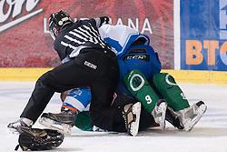 Fight during ice-hockey match between HK Olimpija and HK Triglav in third match for Third place at Slovenian National League, on April 6, 2011 at Hala Tivoli, Ljubljana, Slovenia. (Photo By Matic Klansek Velej / Sportida.com)
