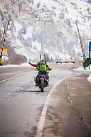 After a morning of skiing in Little Cottonwood Canyon Mark Kogelmann heads home on his motorcycle.