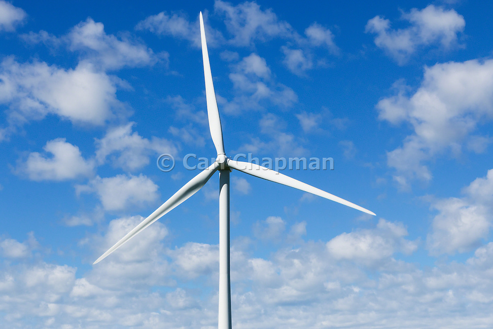 wind turbine against spotted clouds at the Mount Mercer wind farm, Victoria, Australia <br /> <br /> Editions:- Open Edition Print / Stock Image