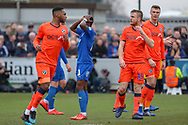 AFC Wimbledon attacker Michael Folivi (41) with hands on head after miss during the The FA Cup 5th round match between AFC Wimbledon and Millwall at the Cherry Red Records Stadium, Kingston, England on 16 February 2019.