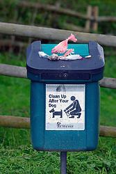 Dog waste bin in park UK