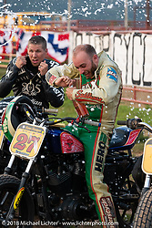 Jordan Graham in the Spirit of Sturgis antique motorcycle flat track race at the historic Sturgis Half Mile during the 78th annual Sturgis Motorcycle Rally. Sturgis, SD. USA. Monday August 6, 2018. Photography ©2018 Michael Lichter.