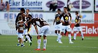 Fotball , 2. august 2015 ,   Eliteserien , Tippeligaen <br /> Mjøndalen - Odd 3-6<br /> MIF med Morten Sundli , depper for nok et tap