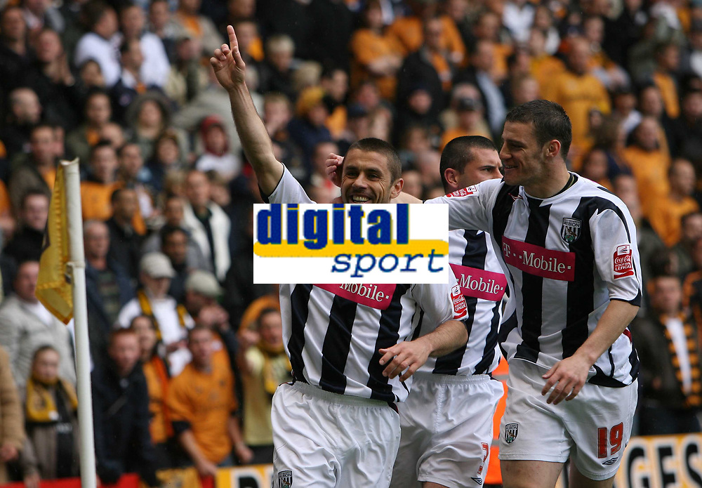 Photo: Rich Eaton.<br /> <br /> <br /> <br /> Wolverhampton Wanderers v West Bromwich Albion. Coca Cola Championship. Play off Semi Final, 1st Leg. 13/05/2007. Kevin Phillips left celebrates scoring to make it 2-2 in the second half for West Brom with Jason Koumas