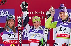 08-02-2011 SKIEN: FIS ALPINE WORLD CHAMPIONSSHIP: GARMISCH PARTENKIRCHEN<br /> f.l. second Place Julia MANCUSO (USA), Winner and World Champion Elisabeth GOERGL (AUT), third Place Maria RIESCH (GER) during Women Super G, Fis Alpine Ski World Championships in Garmisch Partenkirchen<br /> **NETHERLANDS ONLY**<br /> ©2011-WWW.FOTOHOOGENDOORN.NL/NPH-J. Feichter