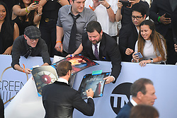 January 27, 2019 - Los Angeles, California, U.S - JOSEPH FIENNES signing autographs during the silver carpet arrivals for the 25th Annual Screen Actors Guild Awards, held at The Shrine Expo Hall. (Credit Image: © Kevin Sullivan via ZUMA Wire)
