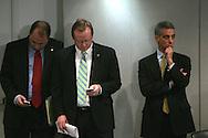 Key Obama advisors at a media briefing on January 9, 2009. (left to right: David Axelrod,senior advisor, Robert Gibbs, press secretary, and Rahm Emanuel, Chief of Staff)  Photograph by Dennis Brack