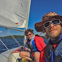 Gordon & Ben Wiltsie sail a laser on Lake of the Woods, Ontario, Canada.