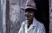 Portrait of an elderly man, near the Malecon, Havana's curved promenade on the Caribbean.