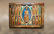 Altar of St. Maria de Taull<br /> <br /> 1200s repainted in 1579. Tempera on wood with carvings from the church of Santa Maria in Snowshoe, Vall de Boi, High Ribagorca, Spain.<br /> <br /> Acquisition of Museums Board's campaign in 1932. MNAC 3904<br /> <br /> Thirteenth century Romanesque carved and painted altar front with Christ Pantocrator in a Mandorla flanked by the 12 Apostles.  Carved altar frontals were not rare in Romanesque. Generally the characters were sculpted separately and then added to the front surface. The high quality of carving indicates the presence of a sculptures hand. The sharpness of forms to make stereotypical costumes seem versed in the work of stone sculpture. ..<br /> <br /> If you prefer you can also buy from our ALAMY PHOTO LIBRARY  Collection visit : https://www.alamy.com/portfolio/paul-williams-funkystock/romanesque-art-antiquities.html<br /> Type -     MNAC     - into the LOWER SEARCH WITHIN GALLERY box. Refine search by adding background colour, place, subject etc<br /> <br /> Visit our ROMANESQUE ART PHOTO COLLECTION for more   photos  to download or buy as prints https://funkystock.photoshelter.com/gallery-collection/Medieval-Romanesque-Art-Antiquities-Historic-Sites-Pictures-Images-of/C0000uYGQT94tY_Y