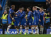 Football - 2019 / 2020 Premier League - Chelsea vs. Burnley<br /> <br /> Chelsea players congratulate Callum Hudson-Odoi (Chelsea FC) after he scores at Stamford Bridge <br /> <br /> COLORSPORT/DANIEL BEARHAM