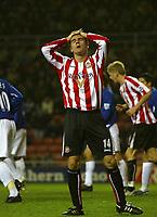 Photo: Andrew Unwin.<br />Sunderland v Everton. The Barclays Premiership. 31/12/2005.<br />Sunderland's Tommy Miller rues his missed opportunity.