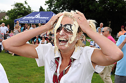 © Licensed to London News Pictures. 31/05/2014<br /> Joan Bruce from Team Dilligaf<br /> World Custard Pie Championships at Coxheath Heath Village,Coxheath,Kent.<br /> Photo credit :Grant Falvey/LNP