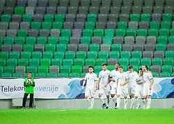 Players of Olimpija celebrate after scoring second goal during football match between NK Olimpija Ljubljana and NK Krsko in 13th Round of Prva liga Telekom Slovenije 2015/16, on October 4, 2015 in SRC Stozice, Ljubljana, Slovenia. Photo by Vid Ponikvar / Sportida