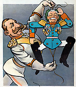 His First War Hero 1901. German Emperor Wilhelm II holding the strings of wooden jumping toy indentified as 'V. Waldersee'.
