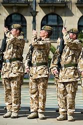 SGT. STEWART KITRIDGE fixes bayonet. Freedom Parade 3rd Battalion The Yorkshire Regiment Sheffield 23 June 2010 .Images © Paul David Drabble.