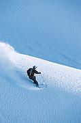 Alaska. Girdwood. Jeremy Nobis skiing.