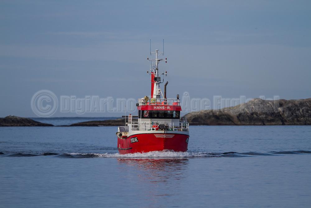 Fiskebåten Hans R (M150AE) på vei inn til Fosnavåg for å levere fisk | The Fishingboat Hans R on way to Fosnavåg to deliver fish.