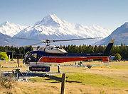 A helicoper, The Helicopter Line, prepares to leave Glentanner Park for a trip to Aoraki/Mt. Cook, New Zealand