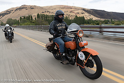 Pat Patterson riding his 1926 Harley-Davidson JD in the Motorcycle Cannonball coast to coast vintage run. Stage 14 (303 miles) from Spokane, WA to The Dalles, OR. Saturday September 22, 2018. Photography ©2018 Michael Lichter.