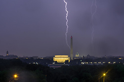 August 12, 2017 - Lightings over the  famous monuments in Washington DC  as a storm passing over the city. (Credit Image: © Dimitrios Manis via ZUMA Wire)