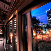 Inside The Link, the enclosed pedestrian bridge between Crown Center and Union Station, above Pershing and Main, downtown Kansas City.