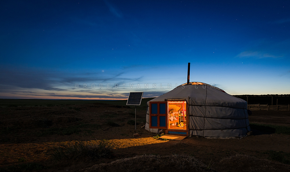 Ger (nomad's dwelling) at dusk in Dundgov Province, Mongolia. Photo © Robert van Sluis