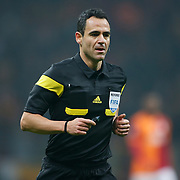 Referee's Carlos Velasco Carballo during their UEFA Champions League Round of 16 First leg soccer match Galatasaray between Chelsea at the AliSamiYen Spor Kompleksi in Istanbul, Turkey on Wednesday 26 February 2014. Photo by Aykut AKICI/TURKPIX