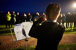 © Licensed to London News Pictures.  08/05/2015. WENDOVER, UK. Lighting of a beacon, to mark the 70th anniversary of VE day, on Coombe Hill, near Wendover and overlooking Chequers. The beacon is one of 100 across the country and was lit at exactly 9:32pm. Photo credit: Cliff Hide/LNP
