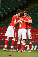 Photo: Rich Eaton.<br /> <br /> Wales v Cyprus. UEFA European Championships 2008 Qualifying. 11/10/2006. Jason Koumas on the right is congratulated by captain Craig Bellamy #7 after scoring the opening goal of the game