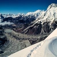 Mountaineer at 20,000' on the North Ridge of Baruntse Peak in the Khumbu region of Nepal