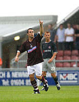 Photo: Marc Atkins.<br /> <br /> Northampton Town v Reading. Pre Season Friendly. 22/07/2006.Scott Mcgliesh celebrates after scoring for Northampton Town FC.