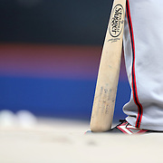 NEW YORK, NEW YORK - May 17: Daniel Murphy #20 of the Washington Nationals rests his bat on his boot at batting practice before the Washington Nationals Vs New York Mets regular season MLB game at Citi Field on May 17 2016 in New York City. (Photo by Tim Clayton/Corbis via Getty Images)
