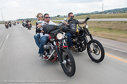 Aaron Greene and Bobby Seeger on Aidan's Ride to raise money for the Aiden Jack Seeger nonprofit foundation to help raise awareness and find a cure for ALD (Adrenoleukodystrophy) during the annual Sturgis Black Hills Motorcycle Rally. I-90 between Rapid City and Sturgis, SD, USA. Tuesday August 8, 2017. Photography ©2017 Michael Lichter.