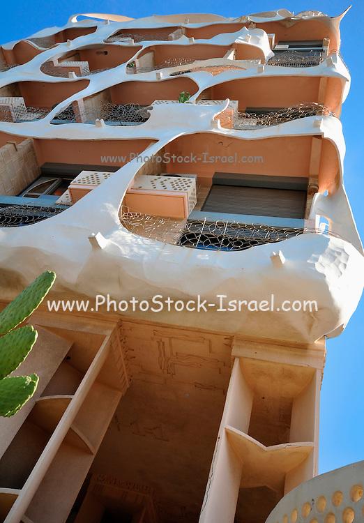 "Israel, Tel Aviv, the ""Crazy House"" on 181 HaYarkon Street designed by architect Leon Geneva 1989 has a pseudo GaudI style"
