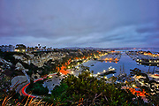 Dana Point Harbor Seen From Top of Cove Road at Dusk