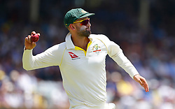 Australia's Nathan Lyon during day two of the Ashes Test match at the WACA Ground, Perth.