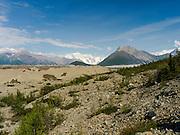 Photograph of the Kennicott Glacier in Wrangell-Saint Elias National Park, near McCarthy, Alaska.