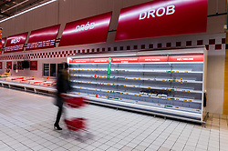 Empty shops in Poland during coronavirus pandemic. After the government and Prime Minister Mateusz Morawiecki put in an epidemiological emergency, Poles are buying up meat, pasta, rice, make-up, soap and toilet paper on a mass scale. Auchan store in Gdansk at Szczesliwa street, Poland, on March 14, 2020. Photo by Fotomag/Newspix/ABACAPRESS.COM