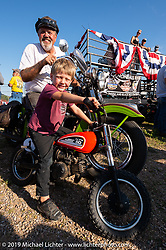 Carl's Cycle's Carl Olsen with his grandson Lock at the Spirit of Sturgis races at the fairgrounds during the Sturgis Black Hills Motorcycle Rally. Sturgis, SD, USA. Monday, August 5, 2019. Photography ©2019 Michael Lichter.