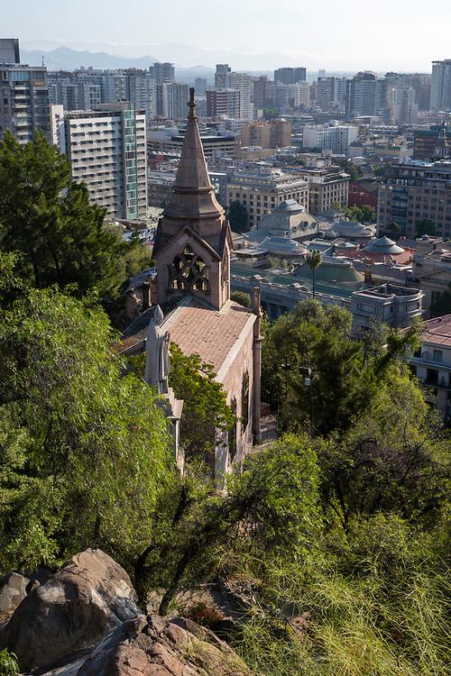 City view from Cerro Santa Lucia, Santiago, Chile.