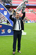 Millwall Manager Neil Harris celebrates with the trophy. EFL Skybet football league one play off final match, Bradford city v Millwall at Wembley Stadium in London on Saturday 20th May 2017.<br /> pic by Steffan Bowen,  Andrew Orchard sports photography.