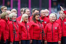 London, 2017-August-04. The Gamesmakers choir performs ahead of the first session of the IAAF World Championships London 2017. Paul Davey.
