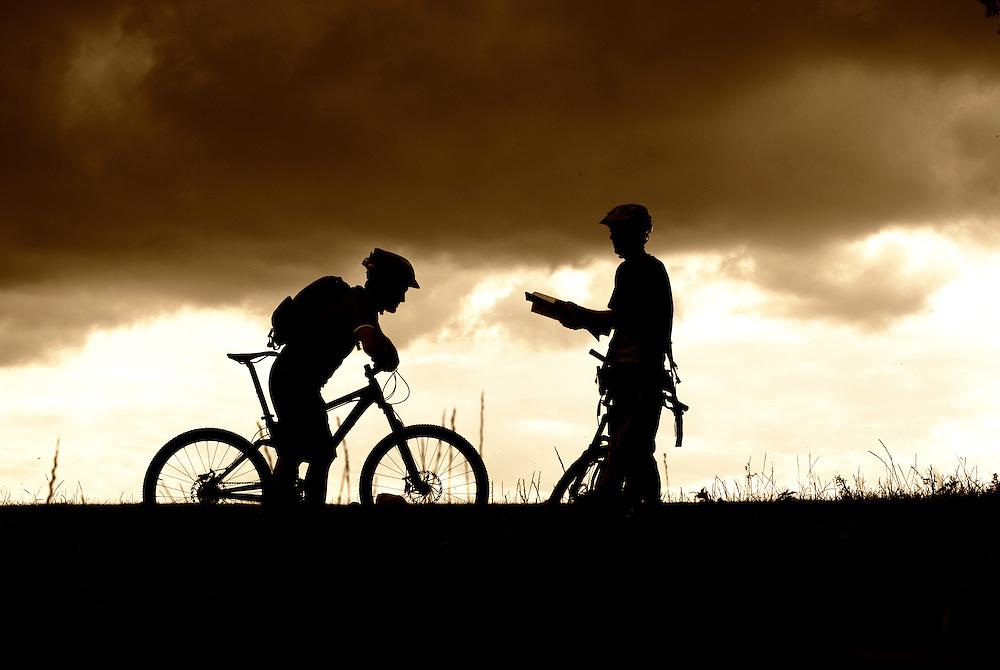 Mountain biking on the Wiltshire Downs around Swindon, England, UK