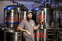 Vik Chouchanian, co-owner of San Fernando Brewing Co. in San Fernando, CA.  November 6, 2015. Photo by David Sprague